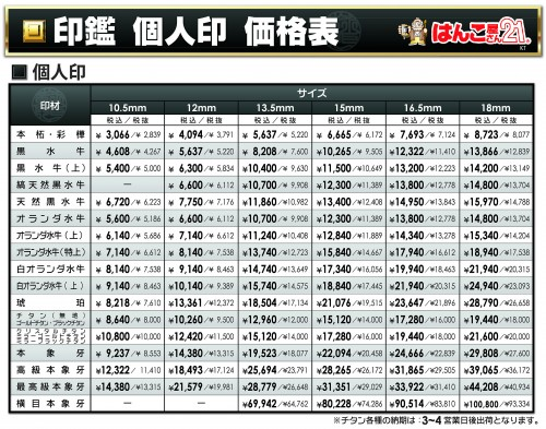 ★★印鑑(機械)価格2016(その4個人 併記1)(関東)2