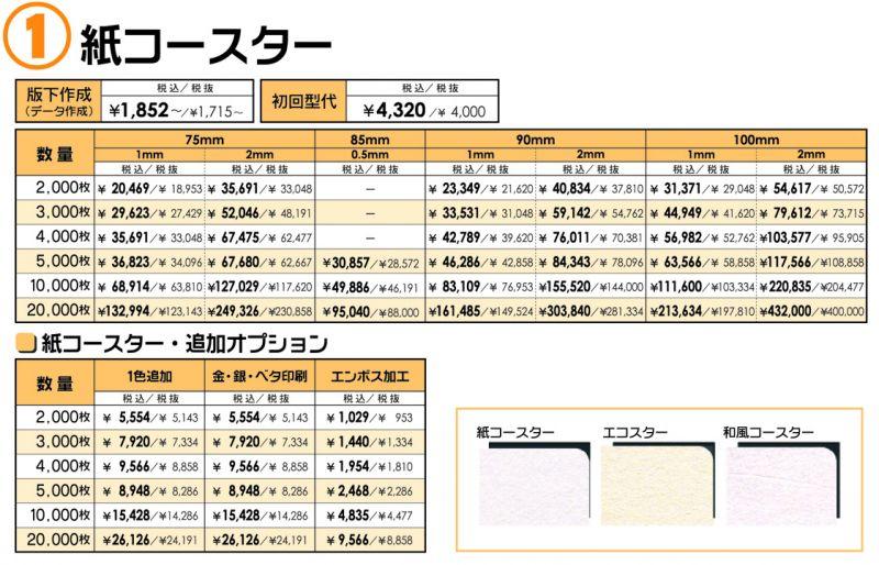 コースター 価格表①