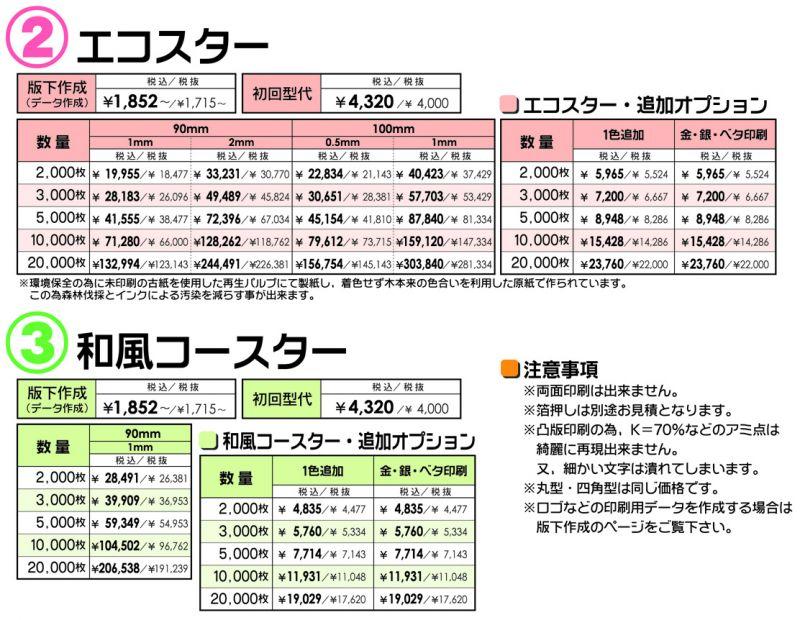 コースター 価格表②